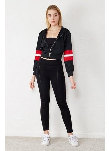 EKA Fermuarlı Kapişonlu Kısa Sweatshirt Siyah